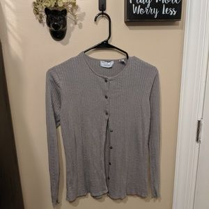 Lord & Taylor  gray button up Cardigan NWOT Silk
